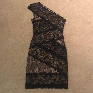 Bebe black lace one shoulder dress